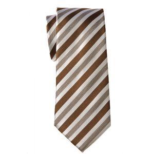 MIJAS Krawatte Design 5 brown/white