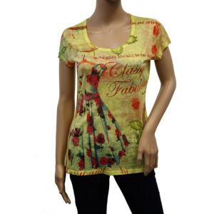 KY Creation Damen T-Shirt 1/2 Arm Allover Druck 15TX85