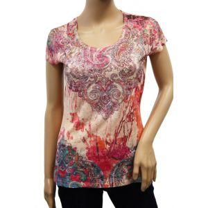 KY Creation Damen T-Shirt 1/2 Arm Allover Druck 15TX88