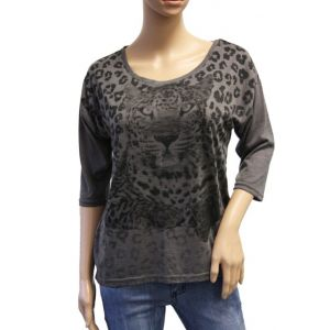 Fresh Made Damen Longshirt Leoprint D1658Y00422B