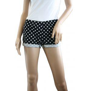 Sublevel Damen Treggins Hotpants D6191W60378K -Schwarz mit weißen Punkten