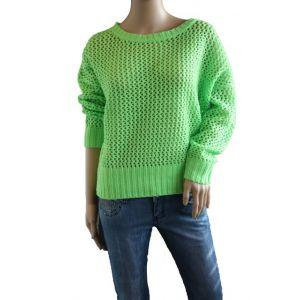 Sublevel Damen Strickpullover Lochmuster - Neon Farben - D900WW90253A